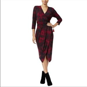 RACHEL Rachel Roy Maroon Burgundy Faux Wrap Dress